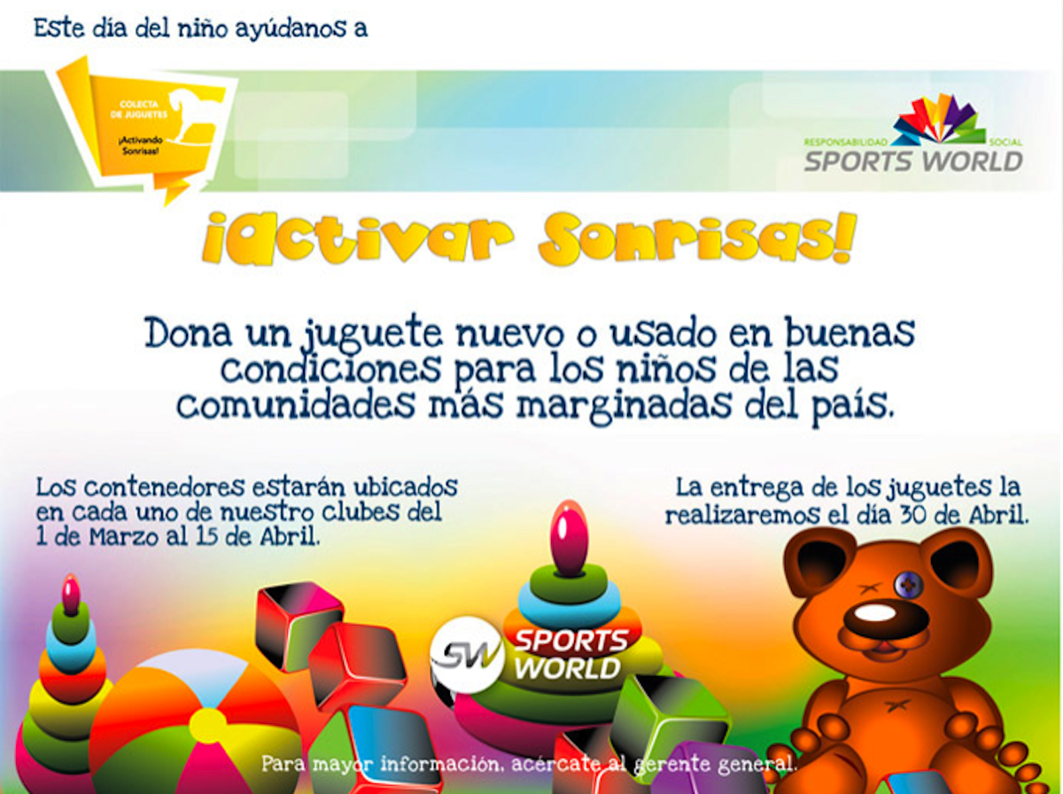 Poster showing Sports World in Mexico asking members to donate toys for poor families