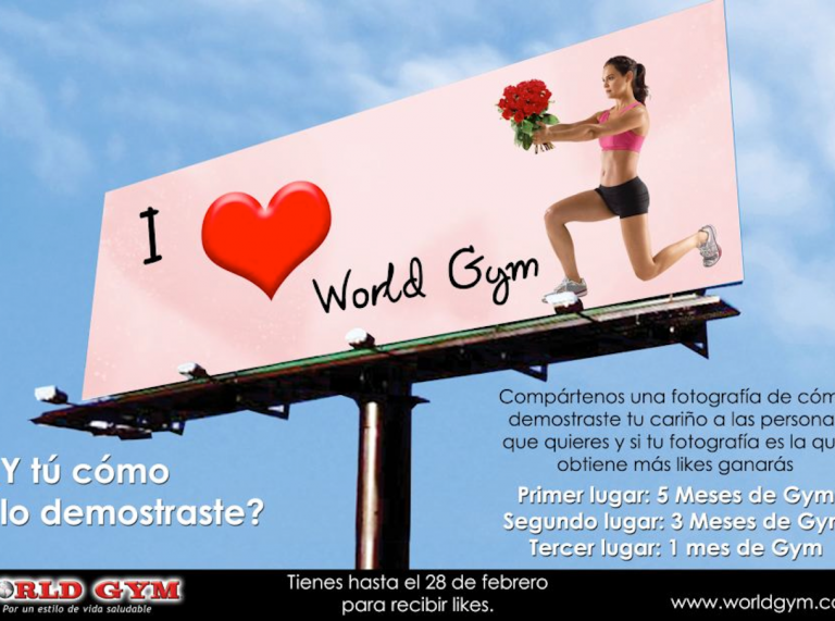 Large advertising poster for World Gyms in Guatemala