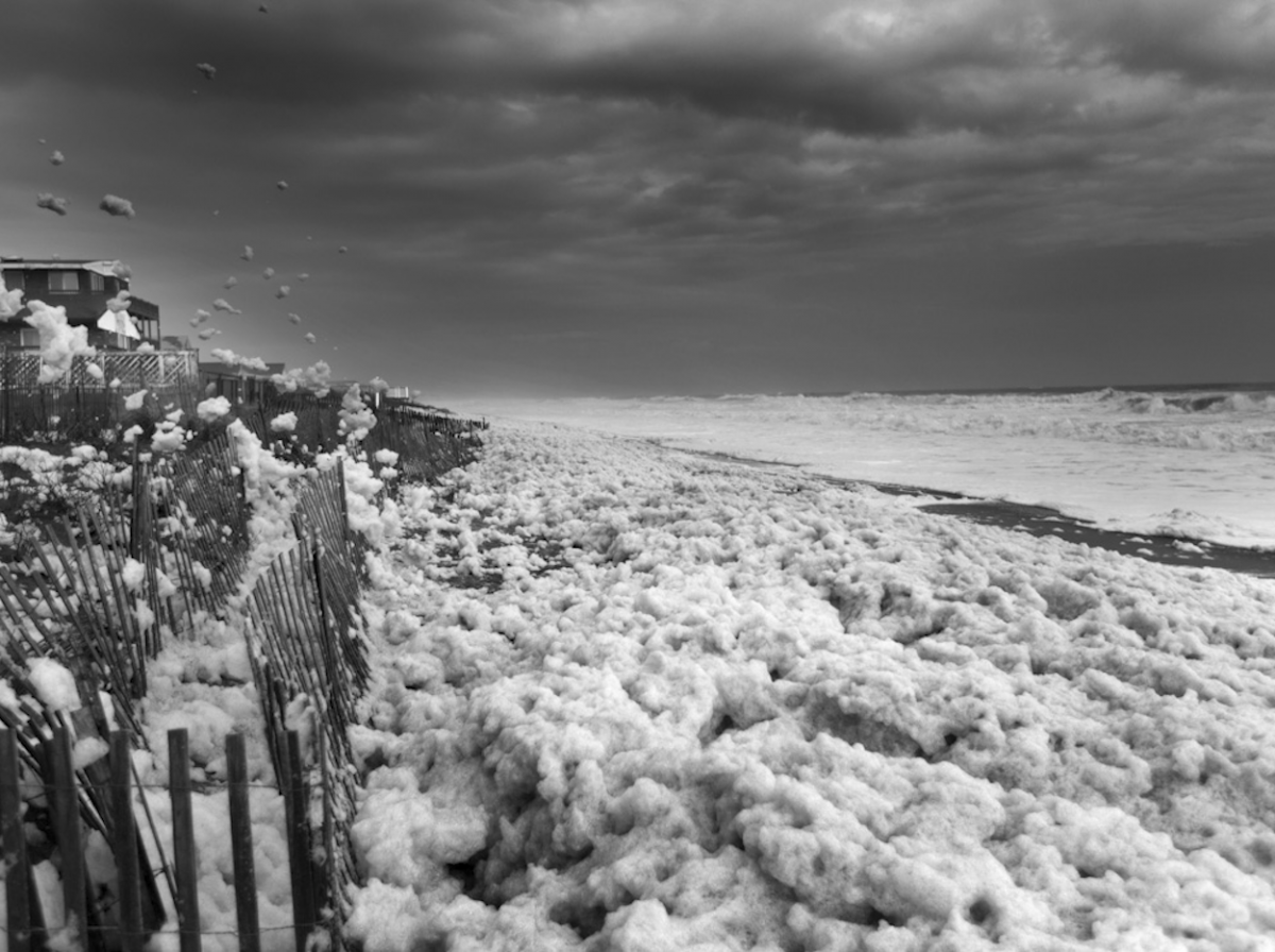 Wild and foamy beach as a result of Hurricane Sandy