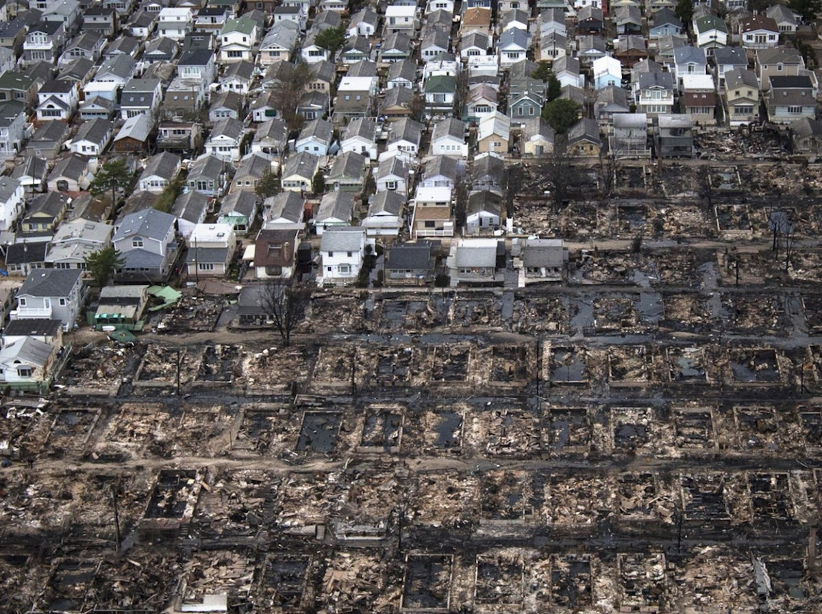 Rows of homes destroyed as a result of Hurricane Sandy