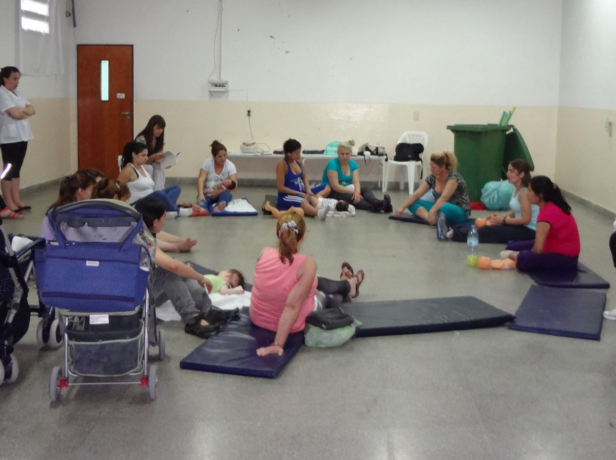 Group of female prisoners and their babies taking part in a physical activity programme – Buenos Aires, Argentina