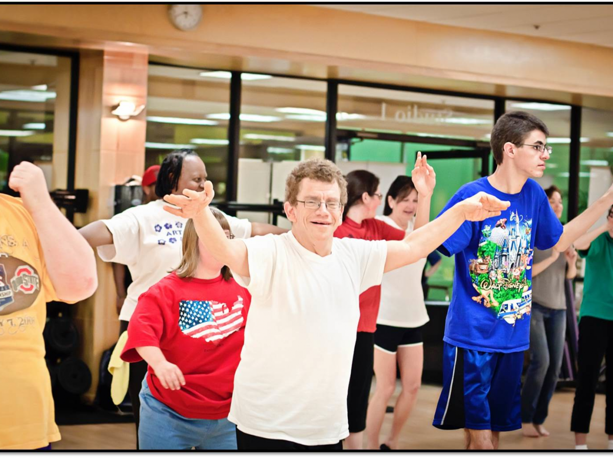 Adult special needs group exercise class underway at the Franco's health and fitness club in Louisiana