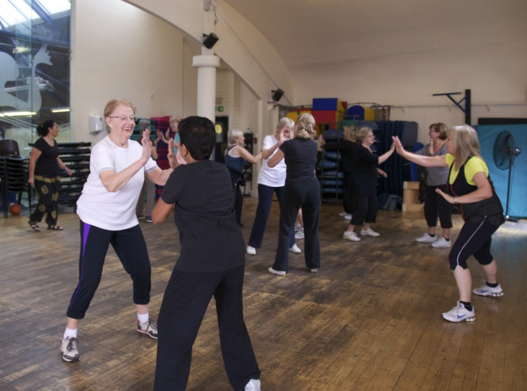 Jubilee Hall leisure centre users taking part in a group exercise class to raise money for the Nepal earthquake appeal